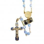 ヴィンテージ ロザリオ ルルドの聖母  ゴールド ブルー <デッドストック>