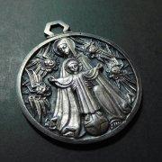 聖母子と天使 アンティーク ヴィンテージ メダイ 壁掛け用