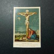アンティーク ホーリーカード  キリストの磔刑 マグダラのマリア