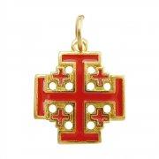 エルサレム クロス レッドエナメル ゴールド 十字架 ペンダント イタリア製