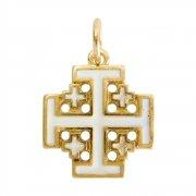 エルサレム クロス ホワイトエナメル ゴールド 十字架 ペンダント イタリア製