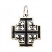 エルサレム クロス ブラックエナメル 十字架 ペンダント イタリア製