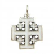 エルサレム クロス ホワイトエナメル 十字架 ペンダント イタリア製