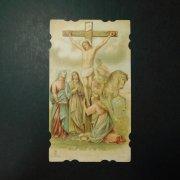 アンティーク ホーリーカード キリストの磔刑 マグダラのマリア 聖母マリア