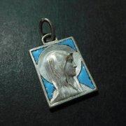 ルルドの聖母 メダイ 水色エナメル アンティーク ペンダント