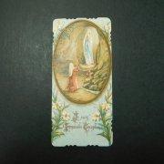アンティーク ホーリーカード  ルルドの聖母 百合の花