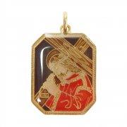 十字架を抱えるイエス・キリスト カラーエナメル イタリア製