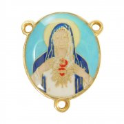 聖母の御心  カラーエナメル ロザリオ センターメダイ パーツ イタリア製