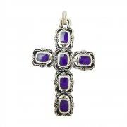大聖堂風 パープルエナメル 十字架 クロス ペンダント イタリア製