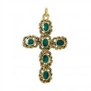 大聖堂風 グリーンエナメル 十字架 クロス ペンダント イタリア製