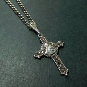 聖心を指すキリストとカルメル山の聖母  マーカサイト シルバー 十字架 クロス ヴィンテージ チェーン付