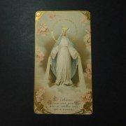 アンティーク ホーリーカード  聖母マリアとオールドローズ