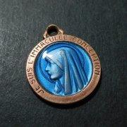 ルルドの聖母マリア ブルーエナメル  アンティーク メダイ