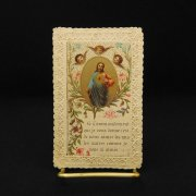 アンティーク ホーリーカード 聖心を指すイエス・キリスト 天使