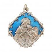 初聖体拝領 キリストと天使 メダイ ブルーエナメル イタリア製