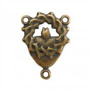 ロザリオセンターメダイ ◆ 聖心と茨の冠 (ブロンズ)