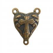 ロザリオ ネックレス パーツ ◆ パフハート 十字架 (ブロンズ)