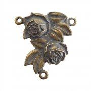 ロザリオ センターメダイ ◆ 2つの薔薇  アクセサリーパーツ  ブロンズ