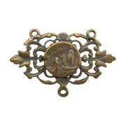 ロザリオ アクセサリーパーツ ◆ ルルドの聖母 植物文様 透かし細工  ブロンズ