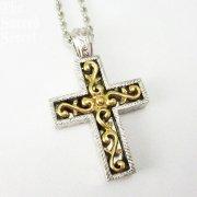 ゴールド&シルバー スクロール 十字架 ペンダント ヴァチカンライブラリーコレクション クロス