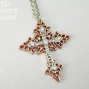 ピンク&シルバー クリスタル クロス ネックレス ヴァチカンライブラリーコレクション 十字架