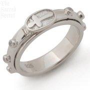 キュービックジルコニア 回転式 シルバー ロザリオリング 指輪 クロス 十字架 【在庫限り】