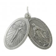 クルシフィクスと不思議のメダイと聖クリストファーのオーバル型スライドメダイ ペンダント イタリア製