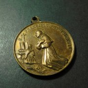 1557 アッシジの聖フランシスコ 聖クララ 聖アグネス アンティークメダイ