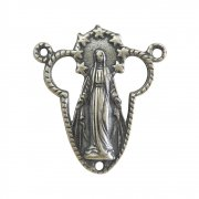 ロザリオ センターメダイ ◆ 無原罪の聖母マリア イエスキリスト聖心の透かし細工 (シルバー)