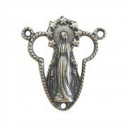 ロザリオ センターメダイ ◆ 無原罪の聖母マリア イエスキリスト聖心の透かし細工  シルバー