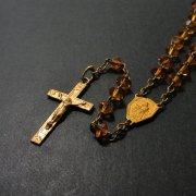 ヴィンテージ ゴールド ロザリオ オレンジクリアカットビーズ カルメル山の聖母と聖心のキリスト 261