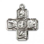 四福音書記者クロスメダイ スターリングシルバー製 十字架 ペンダント アメリカ製