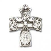 聖霊と聖人のクロスメダイ スターリングシルバー製 クロス ペンダント