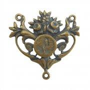 ロザリオ センターメダイ ◆ ルルドの聖母 花 (ブロンズ) アクセサリーパーツ