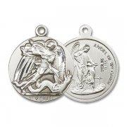 大天使聖ミカエルと守護天使 メダイ ペンダント スターリングシルバー アメリカ製
