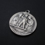 聖家族と教皇ピウス12世のビンテージメダイ