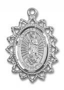 グアダルーペの聖母 メダイ レース ペンダント スターリングシルバー製 【受注発注】