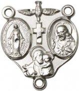 ロザリオ センターパーツ ◆ 聖霊 キリスト 聖ヨセフ 不思議のメダイ シルバーメッキ