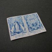 アンティーク スカプラリオ用の布 不思議のメダイ 聖母マリア  青プリント
