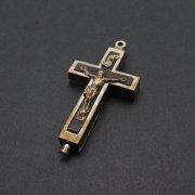 アンティーク 十字架 聖遺物入れ カタコンベの土入り 185