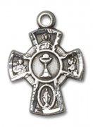 初聖体拝領 聖杯と聖人のメダイ S ペンダント スターリングシルバー製 【受注発注】