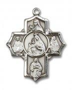 カルメル山の聖母と聖女 クロス メダイ  ペンダント スターリングシルバー製 【受注発注】