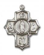 母親の守護聖人聖女聖母 クロス メダイ L ペンダント スターリングシルバー製 【受注発注】