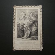 アンティーク ホーリーカード  レース キリストの降誕 東方三博士と天使 カニヴェ