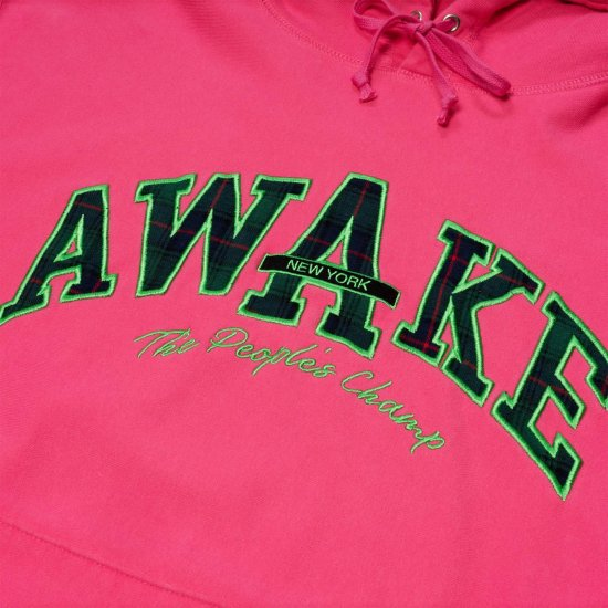 <img class='new_mark_img1' src='https://img.shop-pro.jp/img/new/icons1.gif' style='border:none;display:inline;margin:0px;padding:0px;width:auto;' />Awake NY People's champ plaid logo hoodie Pink
