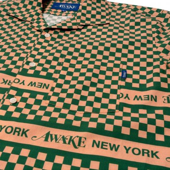 <img class='new_mark_img1' src='https://img.shop-pro.jp/img/new/icons1.gif' style='border:none;display:inline;margin:0px;padding:0px;width:auto;' />Awake NY Champ collar checkerboard logo shirt Khaki