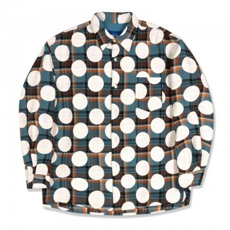 <img class='new_mark_img1' src='https://img.shop-pro.jp/img/new/icons1.gif' style='border:none;display:inline;margin:0px;padding:0px;width:auto;' />Awake NY Polka dot flannel shirt Dusty blue