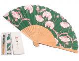 京扇子-松虫草・グリーン(袋付セット)