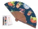 京扇子-飾ろう!・コバルト(袋付セット)