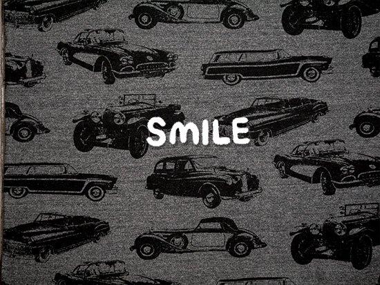 ヴィンテージ天竺/クラシックカー/チャコール杢×ブラック